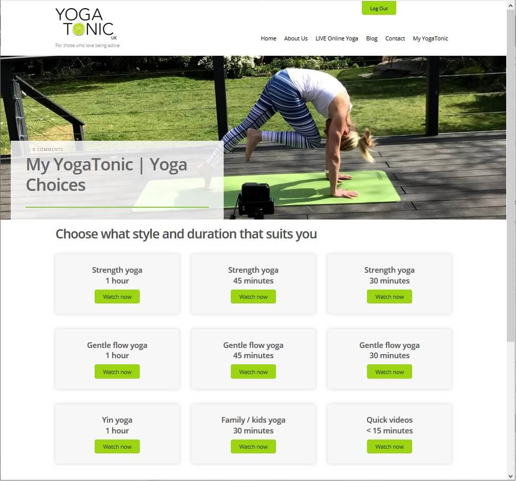 Yoga Menu Listing